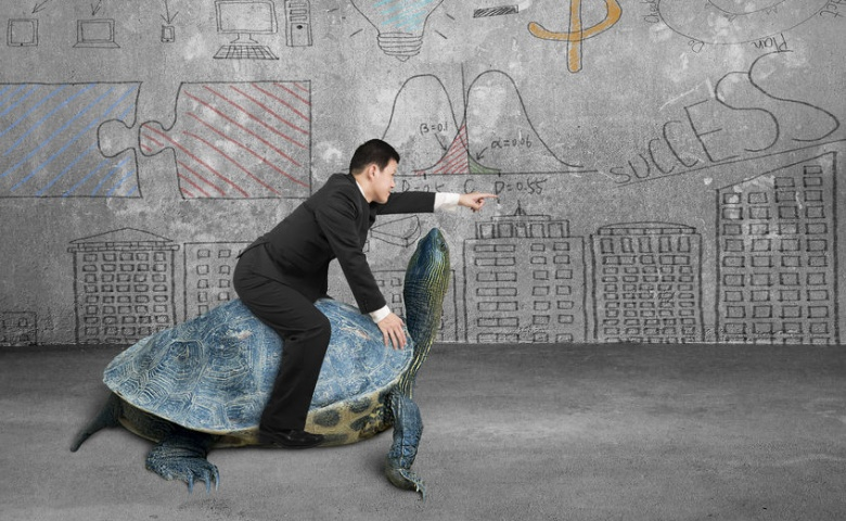 39245349 - businessman riding turtle and indicating with finger in the concrete room and business concept doodles wall background